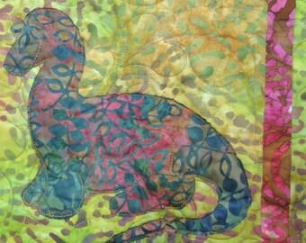 Dinosaur Quilt / Toddler Dino Quilt / Batik Quilt / Applique Quilt