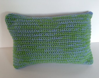 Quilted and crocheted toss pillow
