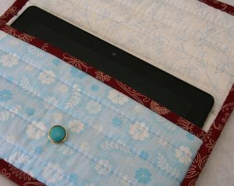 Tablet cover.  E-reader cover. Padded cover. Blue, maroon, cream, handmade, lady, girl.