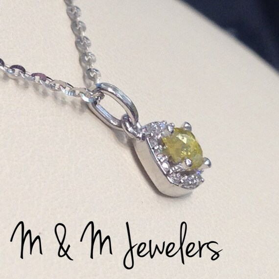 14K White Gold Kite Set Cushion Halo with Round Brilliant Diamonds tw.16ct And Rose Cut Natural Fancy Yellow Rough Diamond .32ct