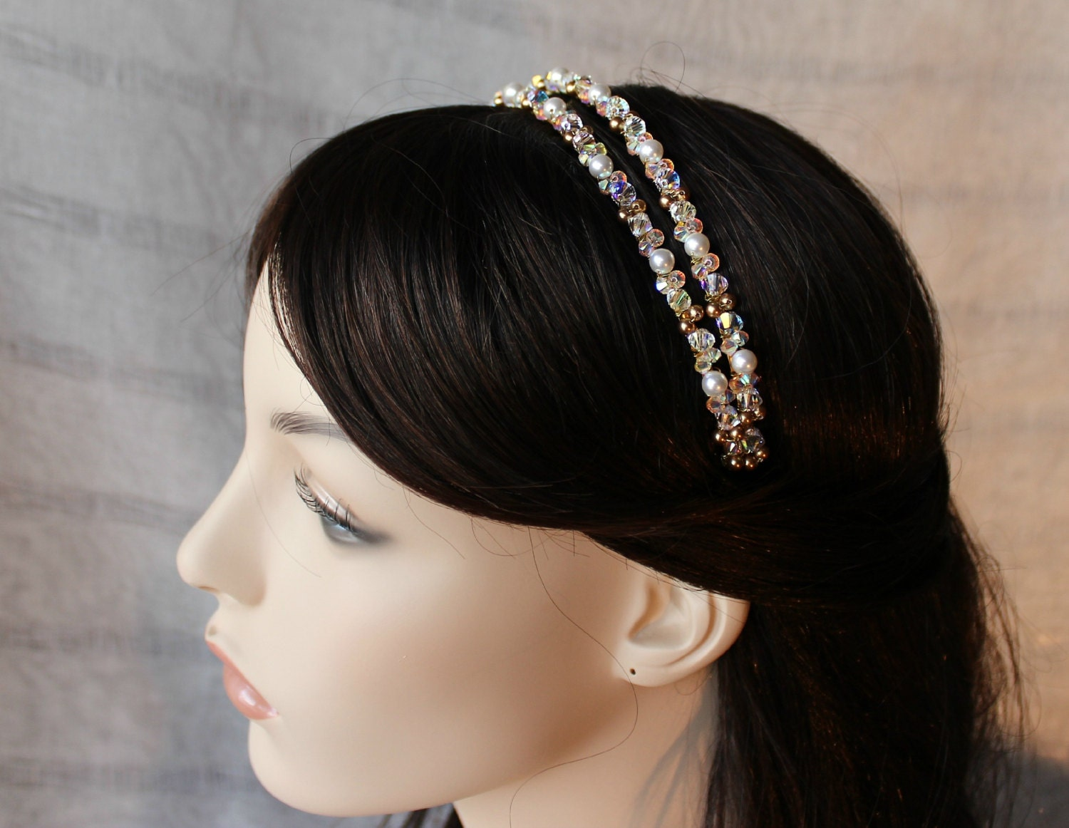 sale 25 % off bridal gold swarovski crystal pearl double tiara