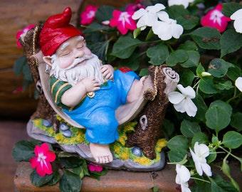 Mr. Hammock Hand Painted Concrete Garden Gnome