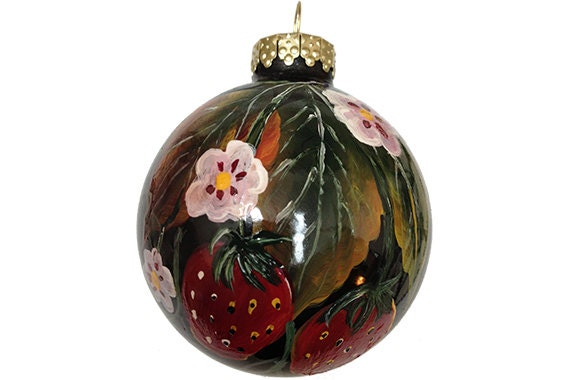 Hand Painted Christmas Ornament Glass Ball Red Strawberry