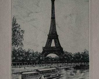 "Fine Art - RARE ""Burin Original"" by Dufza:  Paris - La Tour Eiffel (Signed!)"
