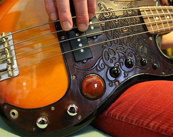 Pickguard ~ hand-carved 'n' tooled leather with semi-precious gemstones