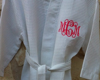Monogrammed Cotton Waffle Robe - Monogrammed Bridal Robe from ShopEllieBelle