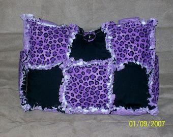 Jungle Leopard  Cheetah Purple  Raggy Rag Quilt Diaper Bag Tote Purse