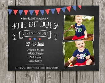 4th of July Mini Session Template - Photography Marketing Flyer - Independence Day Chalkboard - MS12