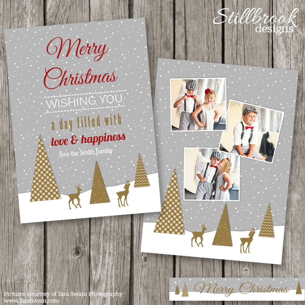 Christmas Photo Card Template Holiday Card Template For
