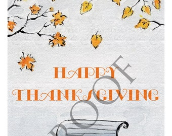 Charlie Brown Bench Fall Thanksgiving Tree Digital Download Print Card Wine Label Gift Tag
