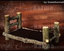 Real Wood Unique Newborn Baby Infant / Doll Log Bed Photo Photography Prop Design - BED ONLY