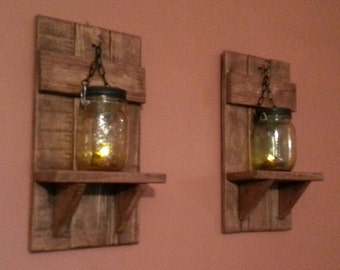 Mason Jar Candle Holder Country De Cor Sconce Candle Holder Lantern