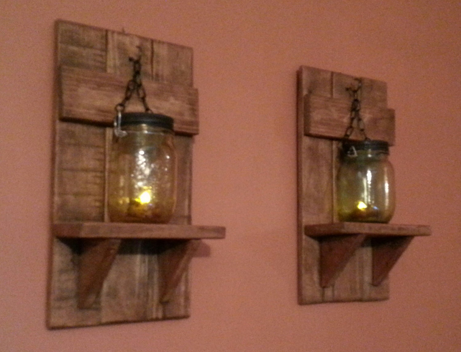 Wood And Glass Candle Wall Sconces : Unique Wood Candle Holder Country Decor Mason Jar candle