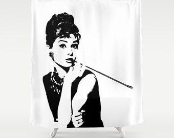 Breakfast At Tiffanys, Shower Curtain, Breakfast At Tiffanys Decor, Dorm Decor, New Apartment Gift, Fashion Decor, Gift for Her, Black White