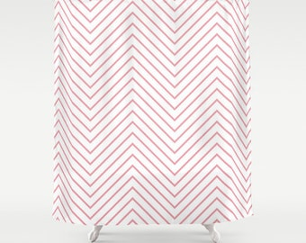 Shower Curtain - Pink Light Chevron - Pink Chevron Shower Curtain - Girls Shower Curtain - Teen Shower Curtain - Dorm Decor - Teen Decor