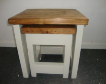 Chunky rustic reclaimed timber Nest of two tables