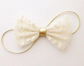 The Jasmine Headband with polka dot ivory tulle bow