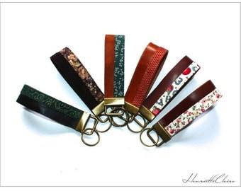 KEY CHAIN, key fob, keyring pendant LEATHER & fabric
