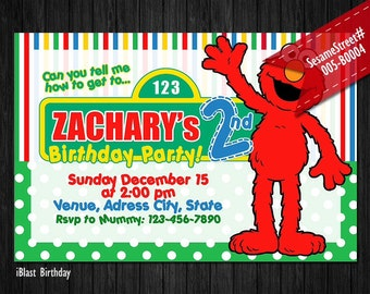 Elmo birthday Invitation - Sesame Street Invitation for Elmo Birthday, Personalized Digital file - Elmo Sesame Street Party