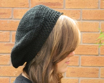 Crocheted Black Beret Syle Hat
