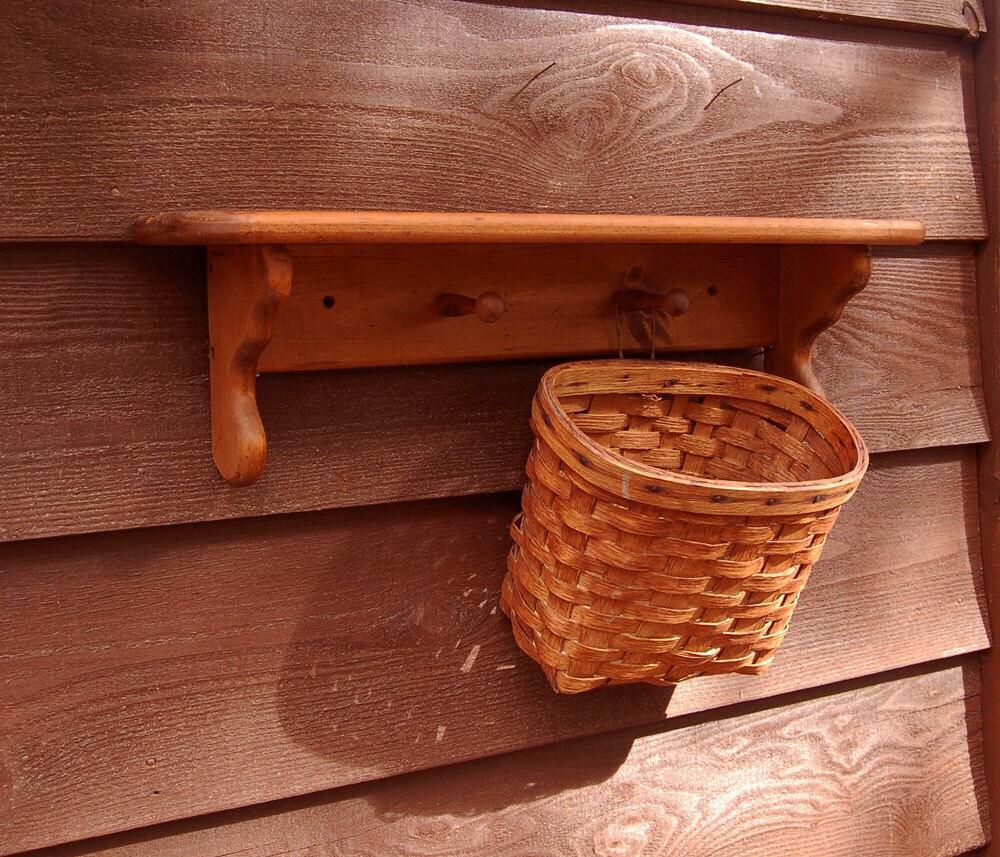 wooden wall peg shelf with woven basket ledge shelf with. Black Bedroom Furniture Sets. Home Design Ideas