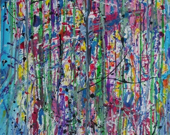 Digesting Miami, 22x30, Acrylic on paper ©AbstractionsbyRonda - All Rights Reserved