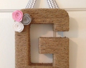 """Jute Wrapped Letter G 12"""" tall. Handmade felt rosettes in baby pink, white & gray. Hung by a gray and white chevron ribbon"""