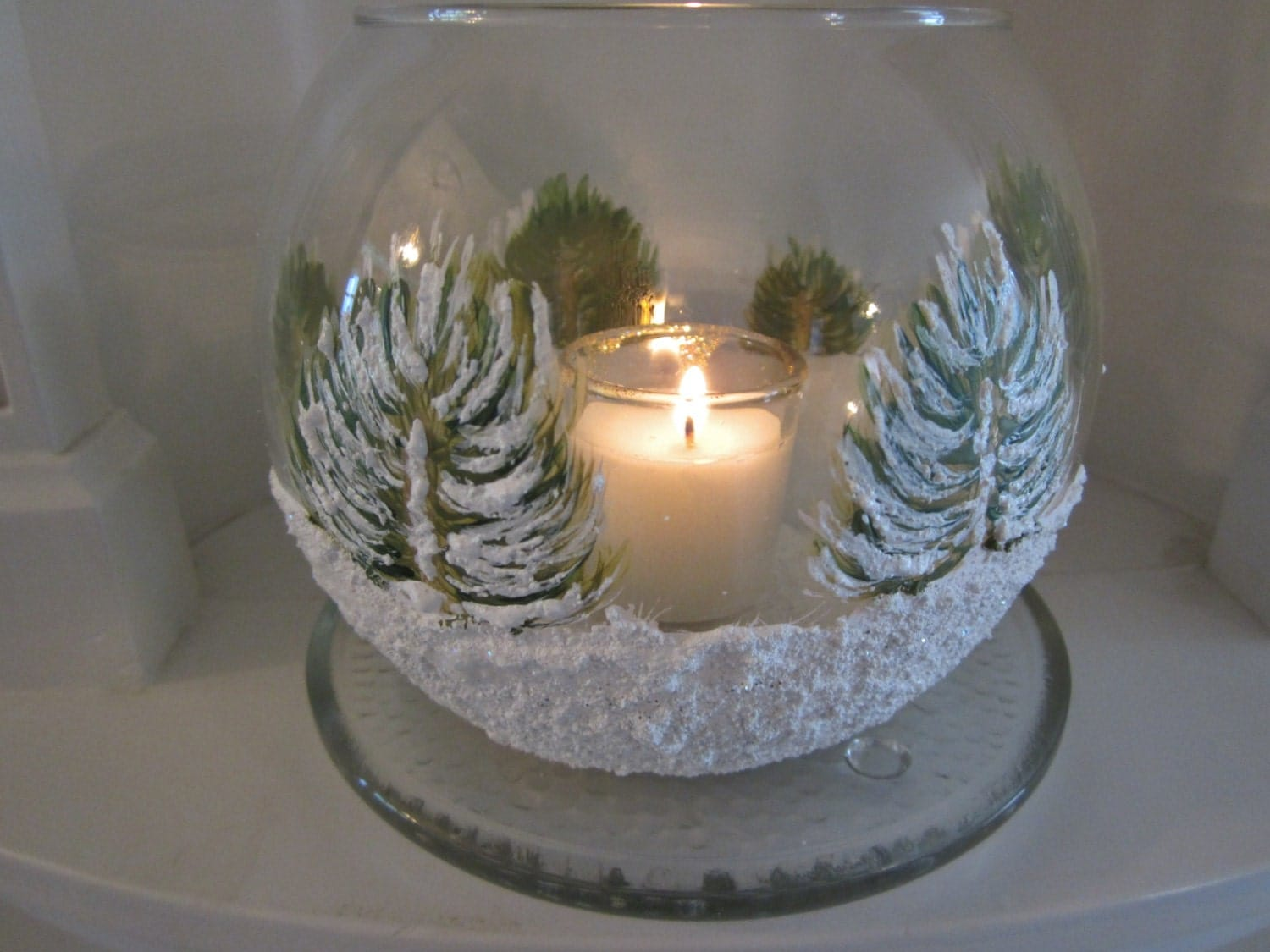 Hand painted glass christmas candle holder by for Christmas candle displays