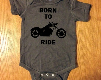 Cute and Funny BORN TO RIDE Motorcycle Harley Bike Baby One Piece Bodysuit Creeper Jumper Romper Boy Girl Neutral Gift OakTees (Black vinyl)