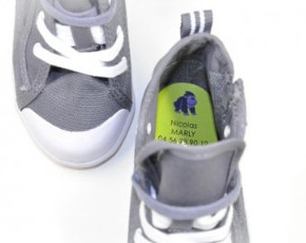30 personalized shoe labels. These durable and waterproof name labels are ideal for school, kindergarten and daycare. Made with love in USA.