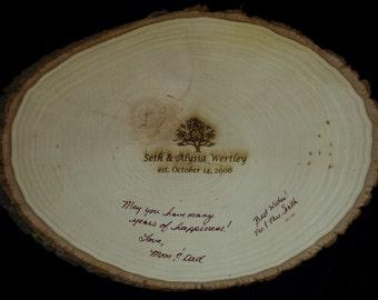 Custom Alternative Guest Book - Wedding Guest Book - Engraved Wood Plank -