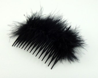 Soft Black Feather Hair Comb