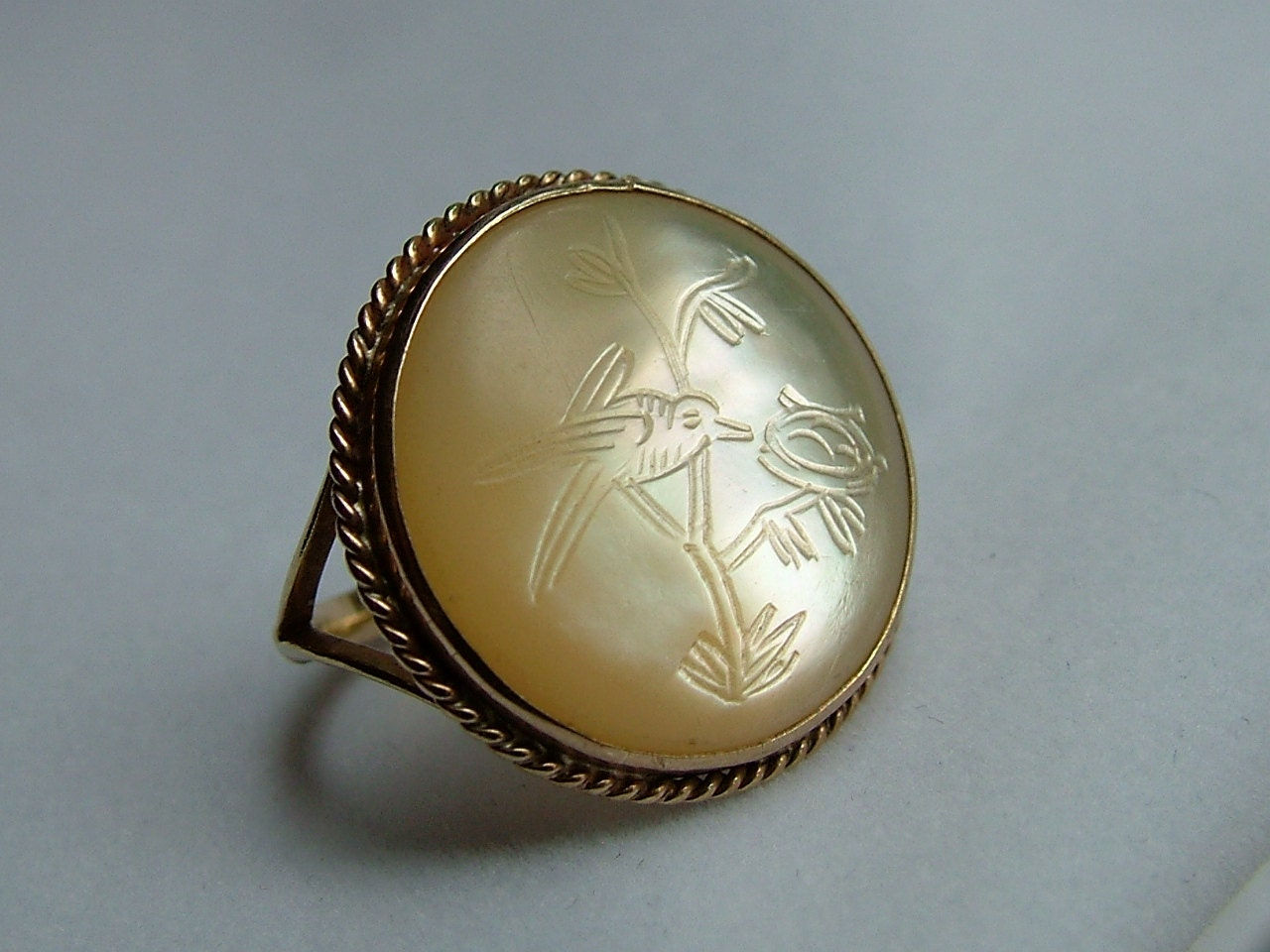 antique gold of pearl ring gold by