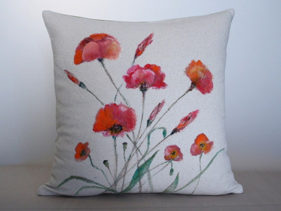 Hand painted decorative poppies pillow buldan fabric cotton for Hand painted pillows