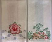 Pair Vintage Hand Embroidered Linen Kitchen Towels/Flowers/Vegetables/Collectible Kitchen Towels  #580