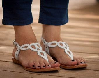 White Leather Sandals, White Sandals, Flat Sandals, Summer Shoes , Free Shipping