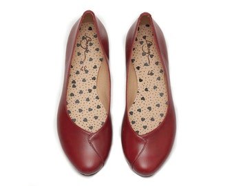 Red Leather Shoes, Red Shoes, Flat Shoes, Red Ballerina Shoes , Free Shipping