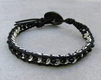 Black Crystal & Chain Leather Bracelet