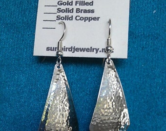Earrings Hammered Sterling Silver