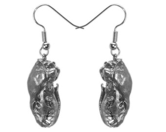 Sterling Silver Animal Skull Bone Jewelry Mongoose Skull Earrings Silver Skulls