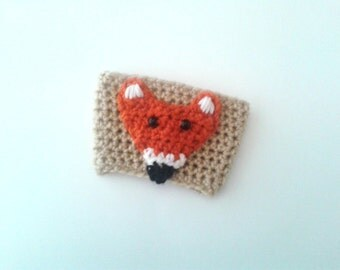 Fox cup cozy, crochet tan orange fox cozy, coffee, tea, beverage cozy, crocheted handmade gift