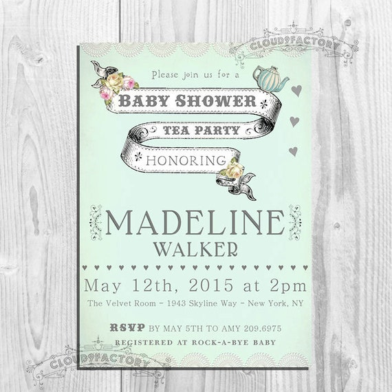 baby shower tea party invitations for a girl or boy shabby chic tea