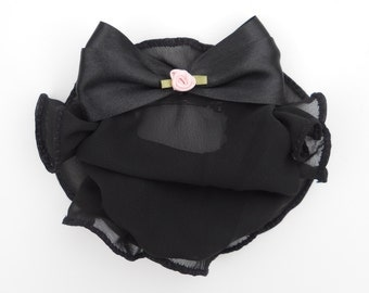 Black Chiffon Snood - Ballet Bun Cover - Equestrian Show Bow - Satin HairBow - Hair Net - Girls Hair Accessory - Bun Holder - Classic Ballet