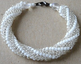 White seed bead woven bracelet