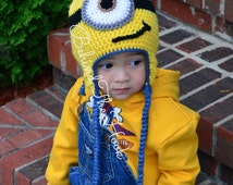 Crochet Despicable Me Inspired Minion Hat for Newborn, Baby, Kids, Teens and Adult Crochet Minion Hat, One Eye Minion, Crocheted Baby Minion