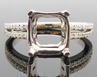Cushion Cut Shape 8MM Solid 14K White Gold 0.28ct Diamonds Semi Mount Ring