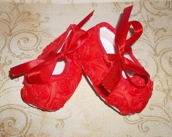 Christmas Outfits for Baby Girls - Red Rosette Crib Shoes - Red Floral Baby Shoes - Red Princess Shoes - Red Baby Dress Shoes