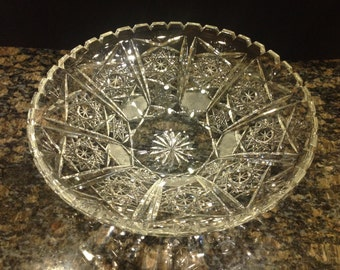 Shallow Vintage Cut Crystal Bowl