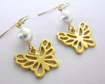 Gold Butterfly Dangle Earrings Pearl Drop Earrings Modern Sleek Elegant Design 14kt Gold Filled Earwires