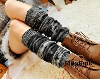 Knit Leg Warmers Black Star Boot Socks